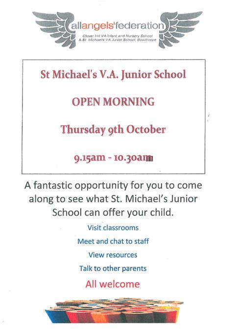 St Michaels Open Morning - Thursday 9th October