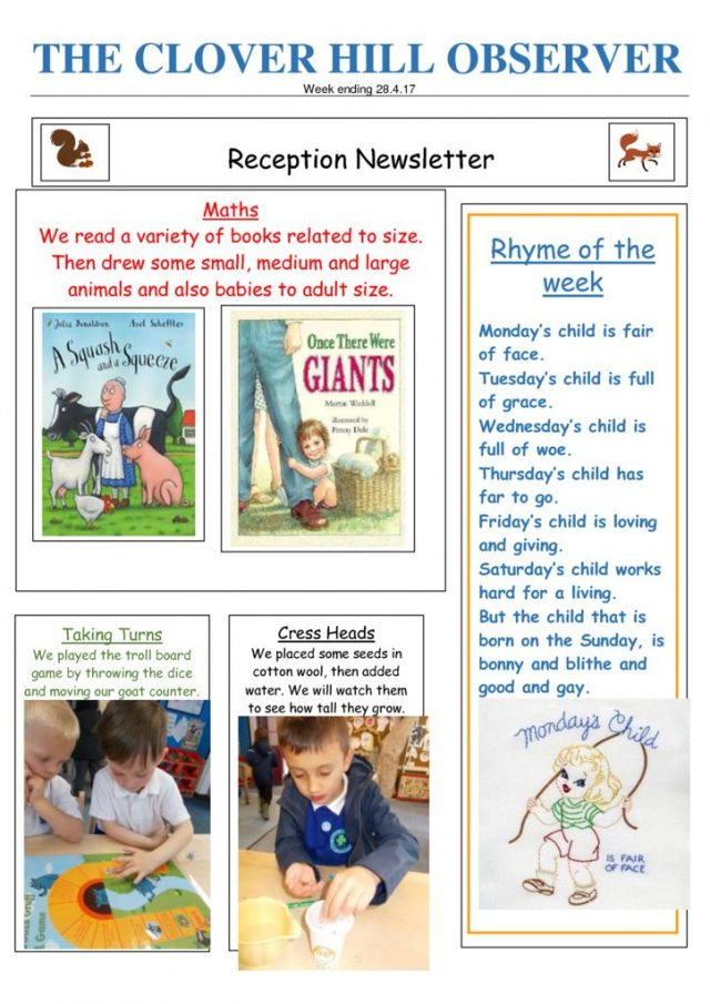 thumbnail of Reception Newsletter 28.4.17