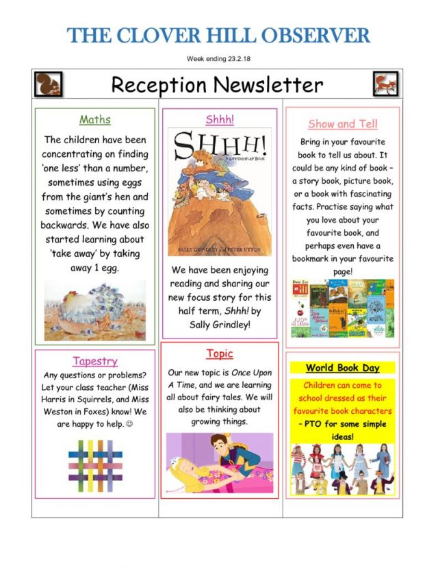 thumbnail of Reception Newsletter 23.2.18